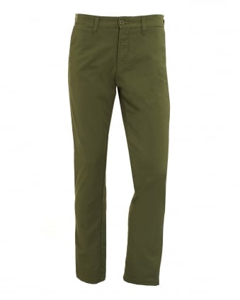 Mens Green Cotton Twill Trousers