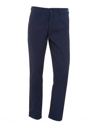 Mens Navy Blue Cotton Twill Trousers