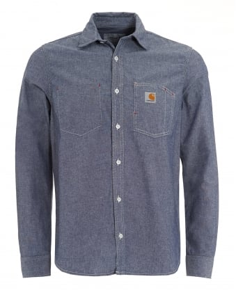 Mens State Chambray Workwear Blue Rinse Shirt