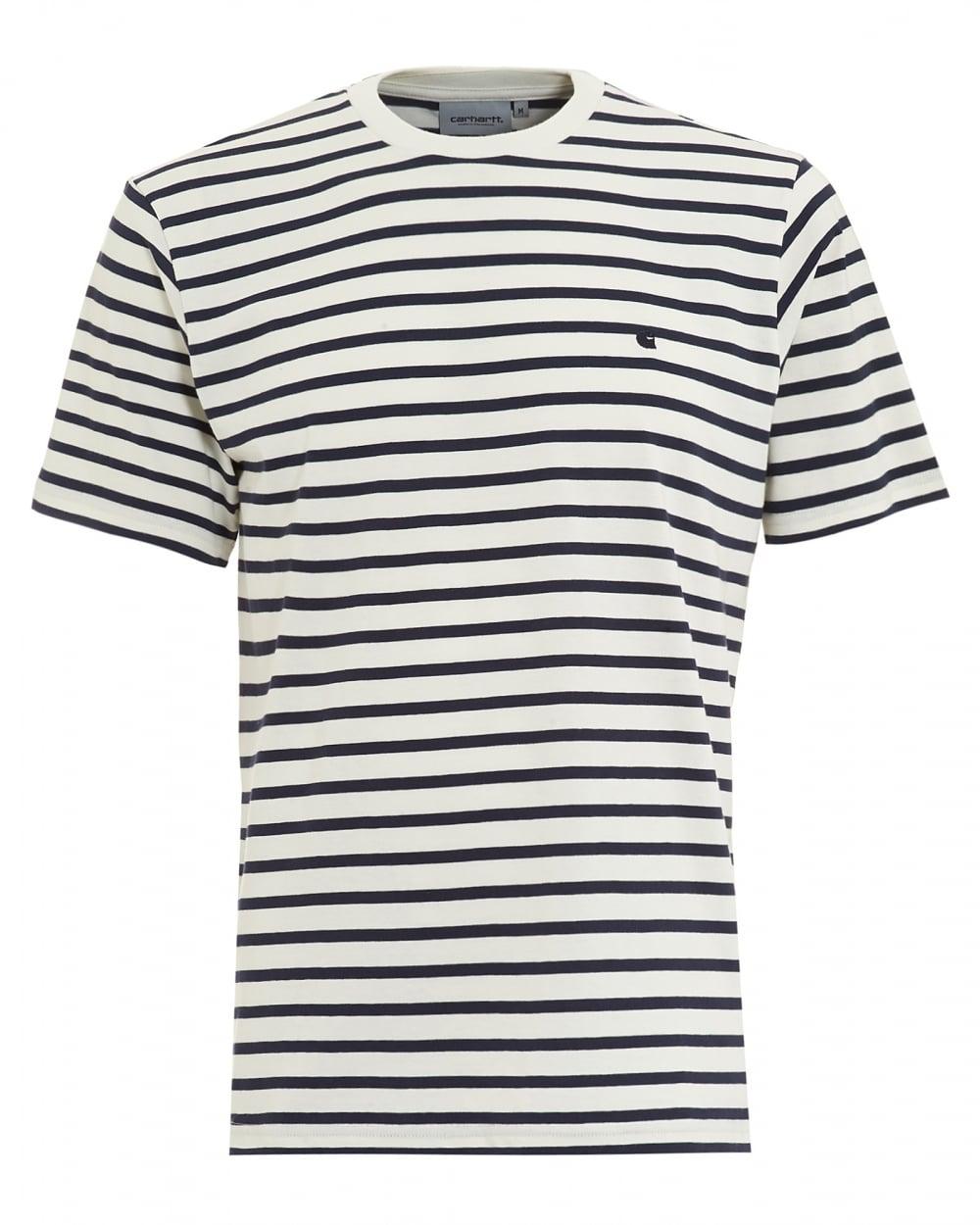 Carhartt Mens T Shirt Striped Champ White Navy Tee
