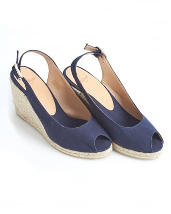 Womens Belli8 Espadrilles, Merino Navy Blue Open Toe Wedges