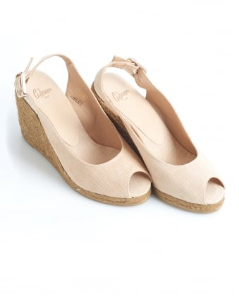 Womens Belli8 Espadrilles, Nude Open Toe Wedges