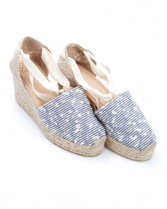 Womens Campiña Espadrilles, Marino Blue Stripe Ankle Tie Wedges