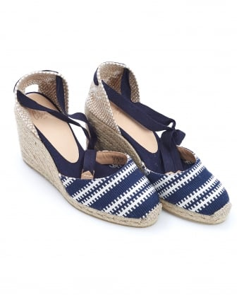 Womens Carina8 Espadrilles, Merino Navy Blue White Stripe Wedges