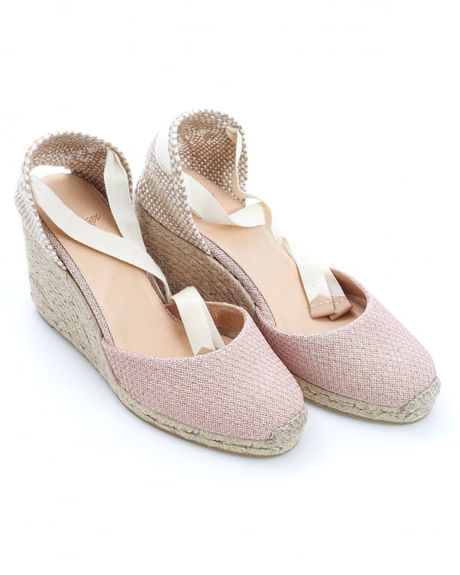 Castañer Womens Carina8 Espadrilles, Nude Textured Ankle Tie Wedges