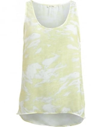 Celery Yellow Watercolour Print Vest Top
