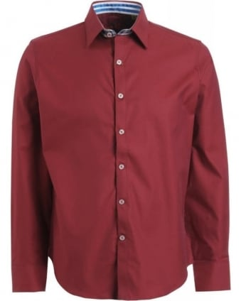 'Central' Plain Red Regular Fit Shirt