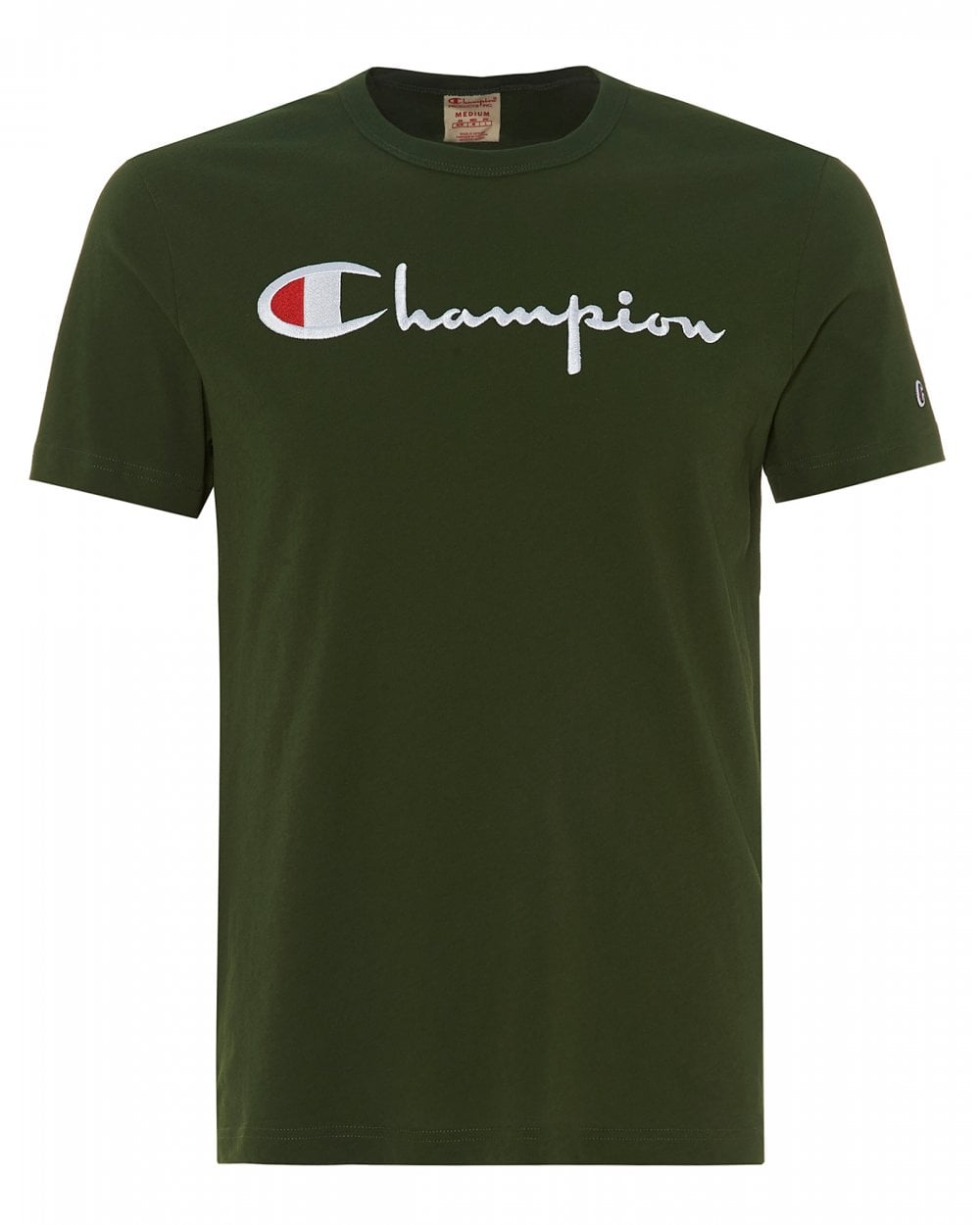6779a105 Champion Mens Large Script T-Shirt, Bottle Green Crew Neck Tee