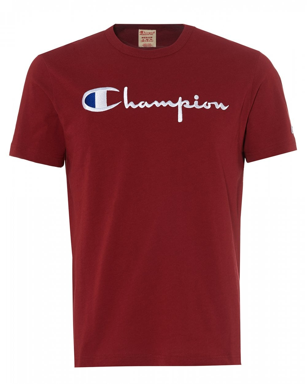 I Build Champions T Shirt: Champion Mens Large Script T-Shirt, Burgundy Red Crew Neck Tee