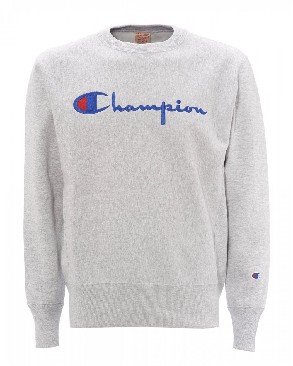 Champion Mens Reverse Weave Sweatshirt, Grey Logo Sweat
