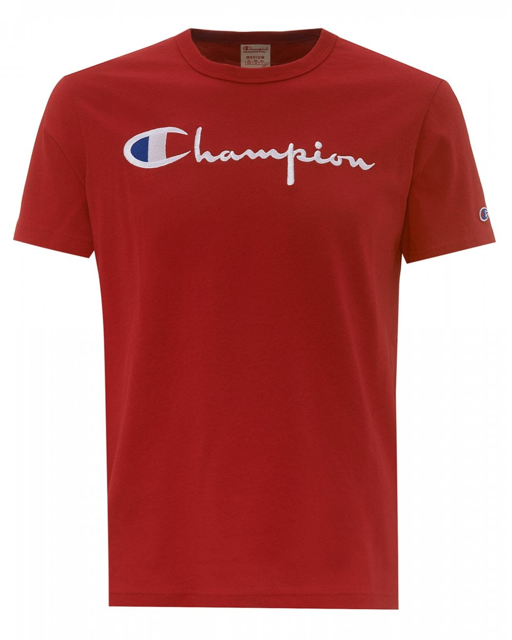 f63f53f8c73e Champion Mens Script Logo T-Shirt, Red Regular Fit Tee