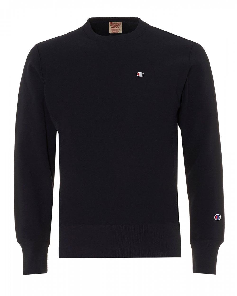 18880905 Champion Mens Small Logo Sweatshirt, Navy Blue Crew Neck Sweat