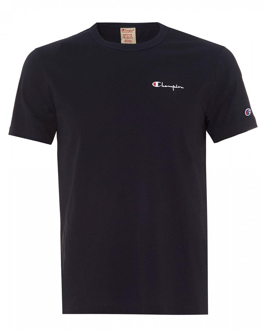 a916f4e0 Champion Mens Small Script T-Shirt, Navy Blue Crew Neck Tee