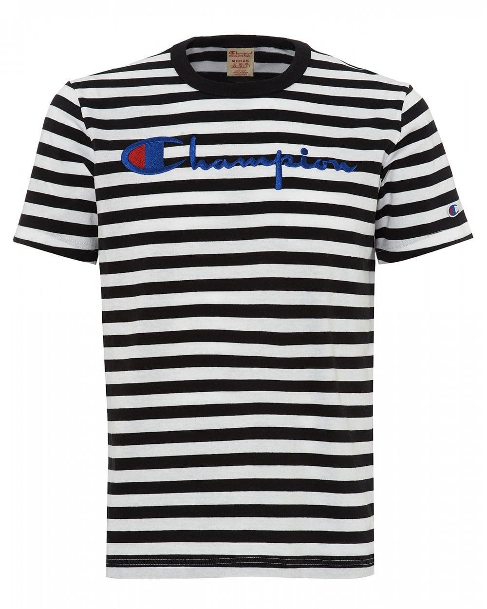 3aa55112fc0d Champion Mens Striped Script Logo T-Shirt