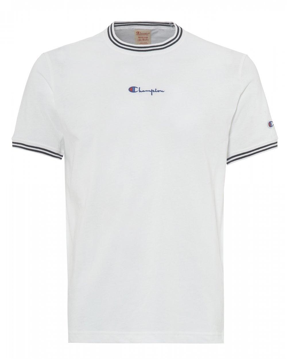 80ff625a6b Champion Mens White Striped Ringer Script Tee, Small Logo T-Shirt