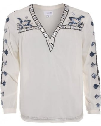 Chantel Womens Blouse Embroidered Cream Sequin Shirt
