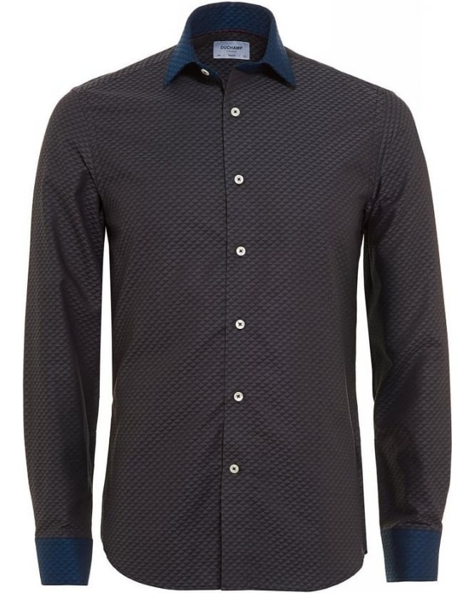 Duchamp Charcoal Grey, Diamond Jacquard Slim Fit Shirt