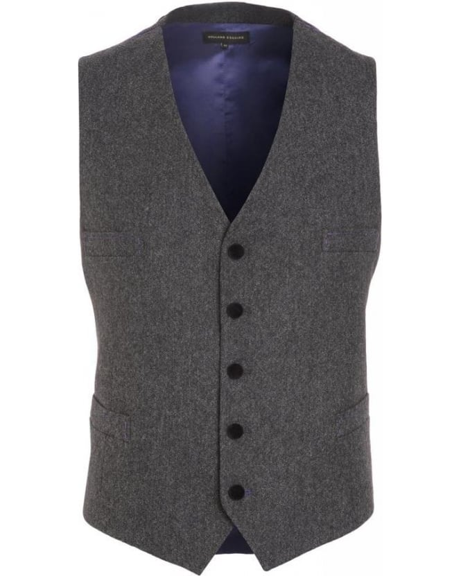 Holland Esquire Charcoal Grey Fine Donegal Waistcoat