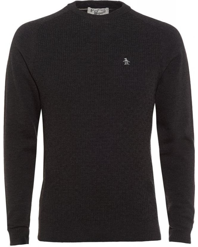 Original Penguin Charcoal Grey Merino Jumper, Cable Knit Sweater