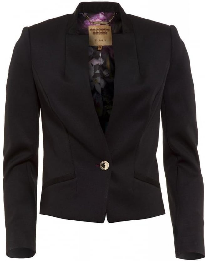 Ted Baker Chaya Neoprene Black Tailored Suit Blazer