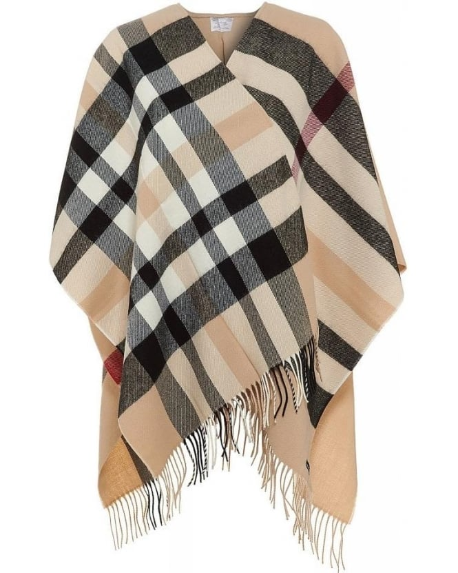 FRAAS Check Poncho Beige One Size Wrap