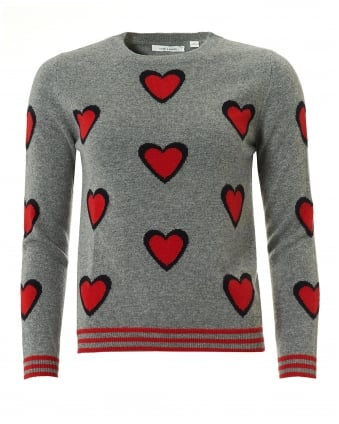 Womens All Over Heart Jumper, Cashmere Grey Sweater