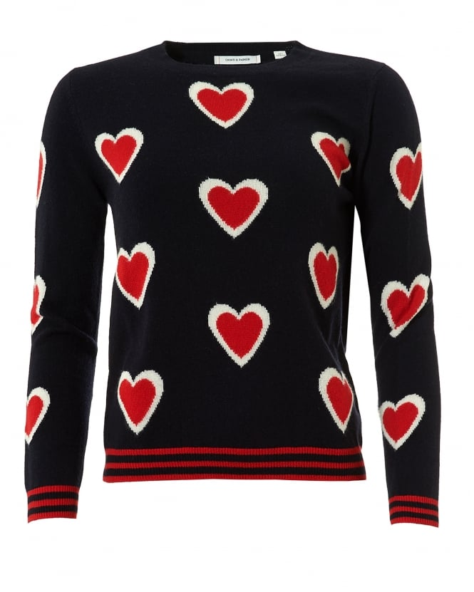 Chinti & Parker Womens All Over Heart Jumper, Cashmere Navy Sweater