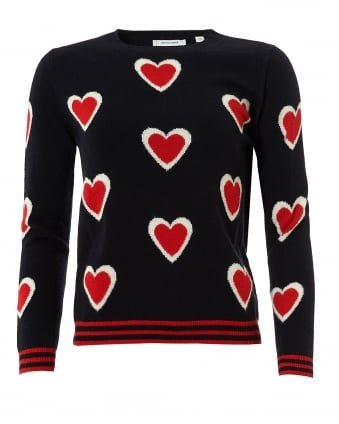 Womens All Over Heart Jumper, Cashmere Navy Sweater