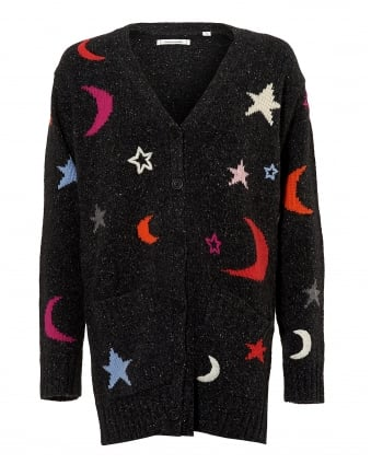 Womens Boyfriend Cardigan, Starry Print Dark Grey Knit