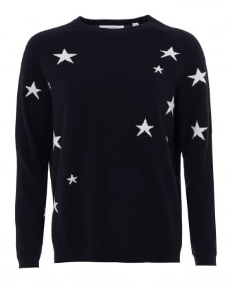 Womens Front Star Jumper, Cashmere Navy Cream Sweater