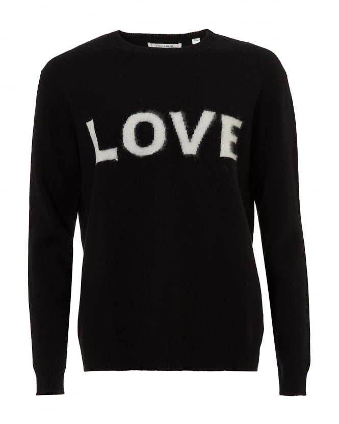 Chinti & Parker Womens Love Jumper, Cashmere Black Ivory Sweater