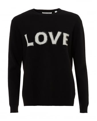 Womens Love Jumper, Cashmere Black Ivory Sweater