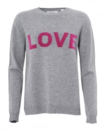 Womens Love Jumper, Cashmere Grey Fuschia Sweater