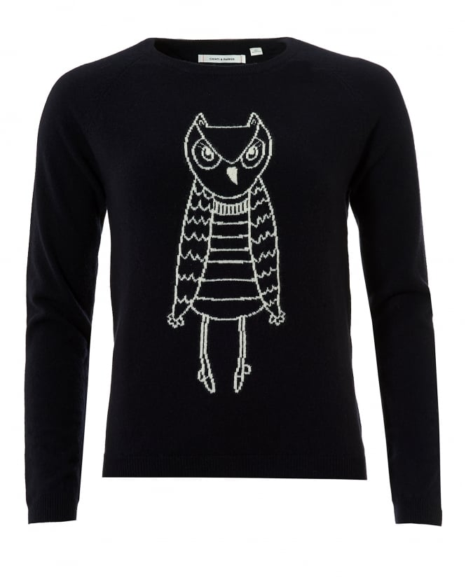 Chinti & Parker Womens Owl Outline Jumper, Cashmere Navy Cream Sweater