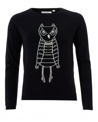 Womens Owl Outline Jumper, Cashmere Navy Cream Sweater