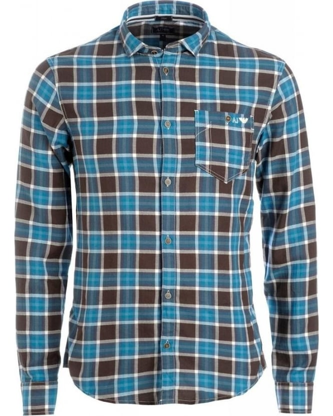 Armani Jeans Chocolate And Blue Checked Slim Fit Shirt