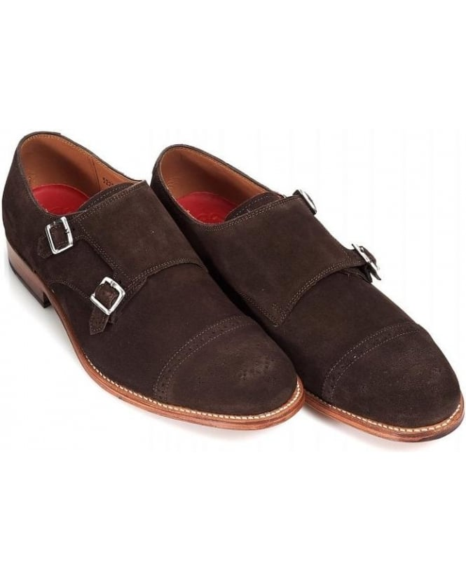 Grenson Shoes Chocolate 'Ellery' Double Buckle Monk Suede Shoe