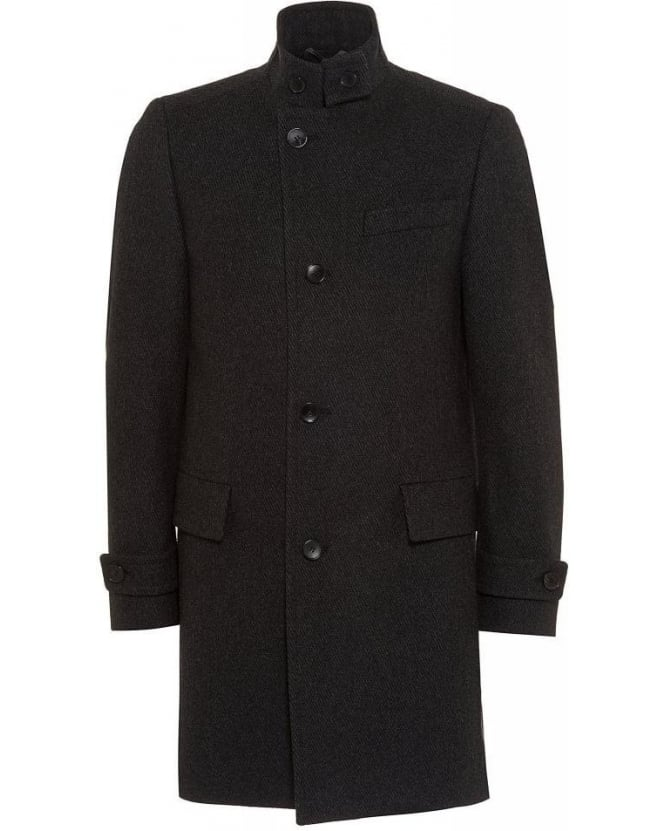 Hugo Boss Black Classic Coat Sintrax5 Charcoal Ribbed Coat
