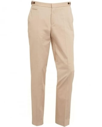 Classic Mens Chinos Grainy Slim Fit Beige Chino