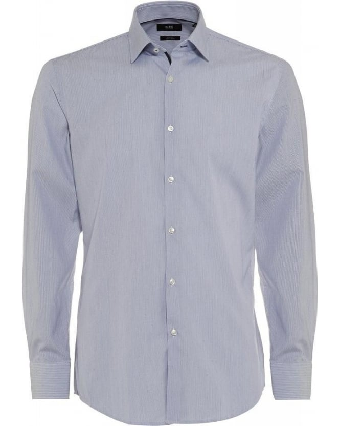 Hugo Boss Black Classic Navy and White 'Joey' Fine Stripe Slim Fit Shirt
