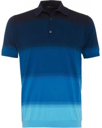 Cloudless Blue 'Albatross' Block Stripe Slim Fit Polo Shirt