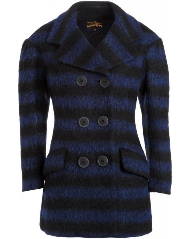 Vivienne Westwood Anglomania Coat, Blue and Black Striped 'Risk' Peacoat