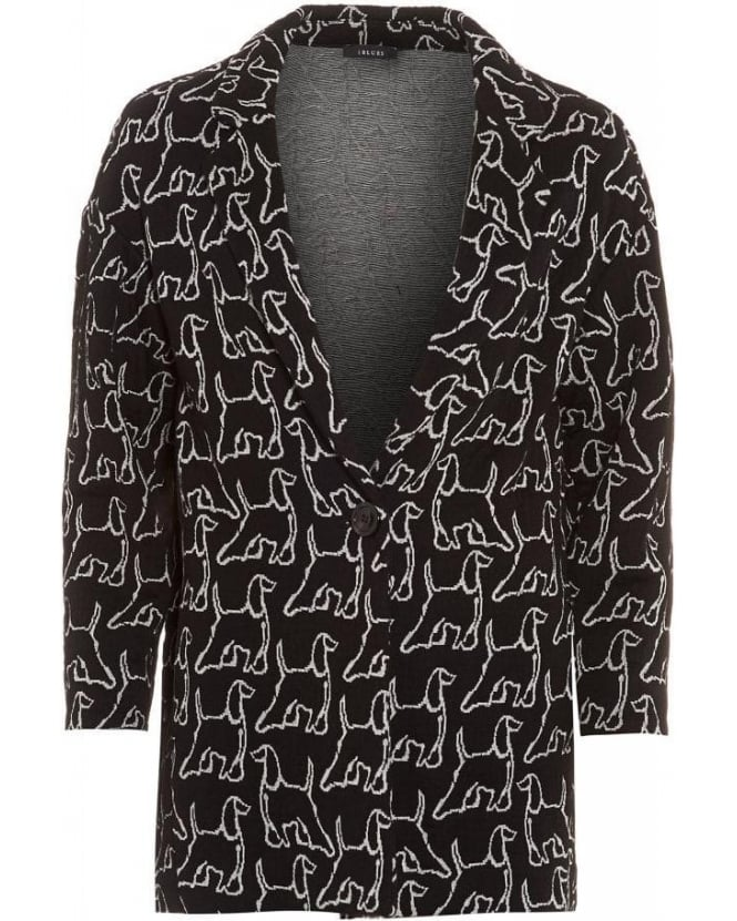 I Blues Coat, 'Plage' Coatigan Dog Print Boyfriend Jacket