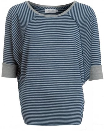 Cobalt Blue Akela Tencel Heather Stripe Dolman Top