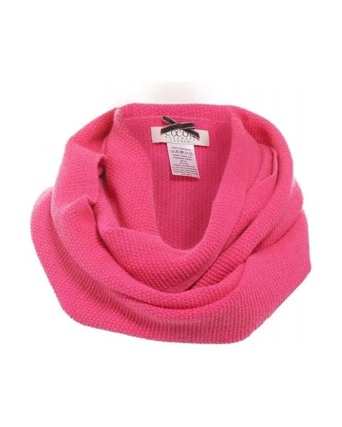 Cocoa Cashmere Canary Pink Snood, Knitted Infinity Scarf