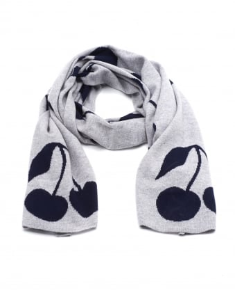 Womens All Over Cherry Print Grey Scarf