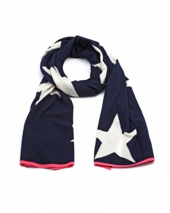 Womens All Over Star Print Cashmere Navy Scarf