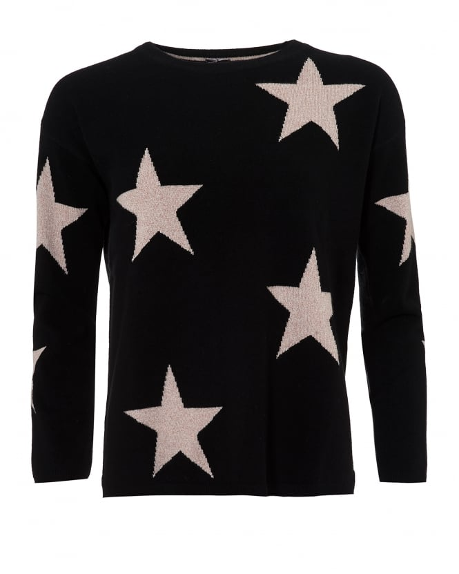 Cocoa Cashmere Womens Black Sophie Jumper, Oatmeal Beige Star Print Sweater