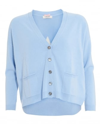 Womens Boyfriend Cardigan, Star Elbow Baby Blue Chalk Cardi