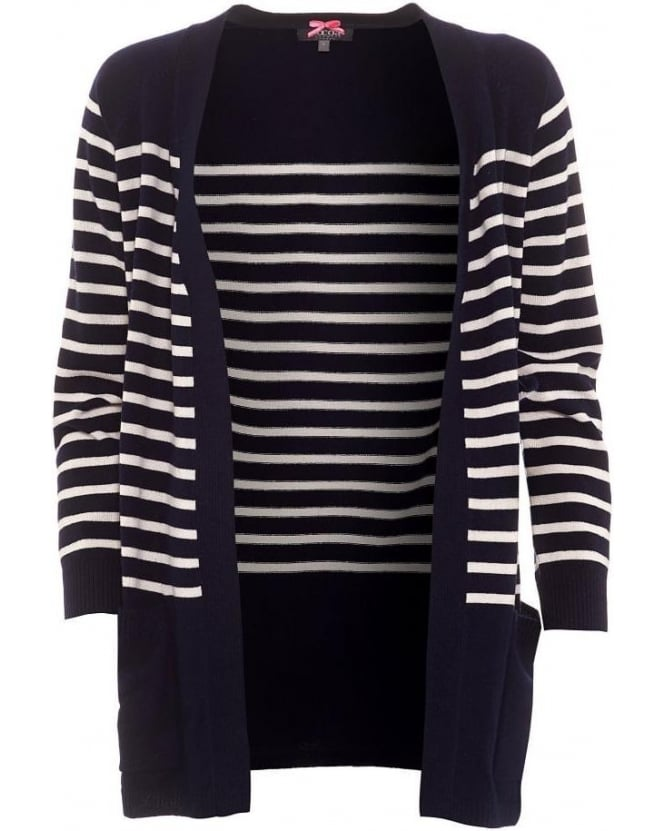 Cocoa Cashmere Womens Cardigan, Navy White Striped